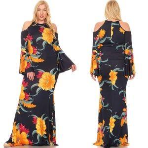 Plus Cold Open Shoulder Floral Maxi Dress